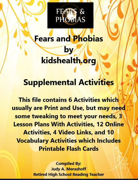 Florida Collections 6th Grade Collection 1 Fears and Phobias Supplemental Activities JAMsCraftCloset