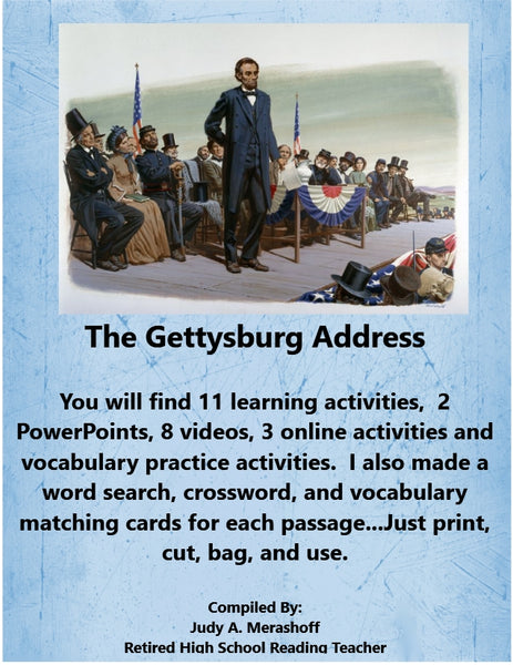The Gettysburg Address from HMH 9th Grade Textbook Collection 1 JAMsCraftCloset