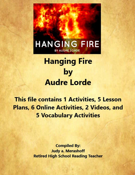 Florida Collection 8th Grade Collection 4 Hanging Fire by Audre Lorde Supplemental Activities JAMsCraftCloset