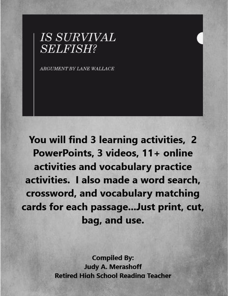 Is Survival Selfish by Lane Wallace from HMH 9th Grade Textbook Collection 5 - JAMsCraftCloset