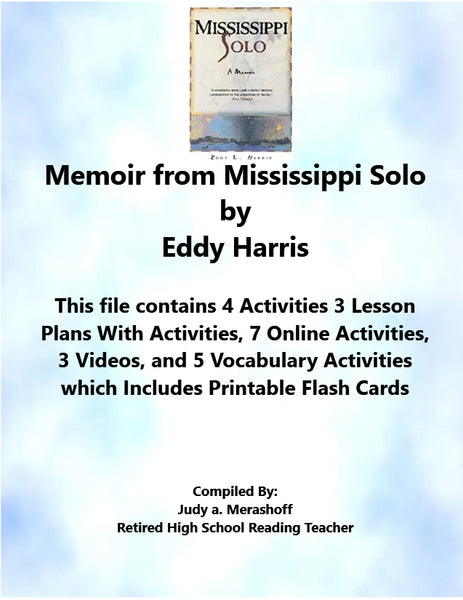 Memoir from Mississippi Solo by Eddy Harris Florida Collections 7th Grade Collection 3 Supplemental Activities - JAMsCraftCloset