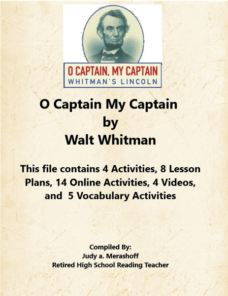 Florida Collection 8th Grade Collection 3 O Captain My Captain by Walt Whitman Supplemental Activities JAMsCraftCloset