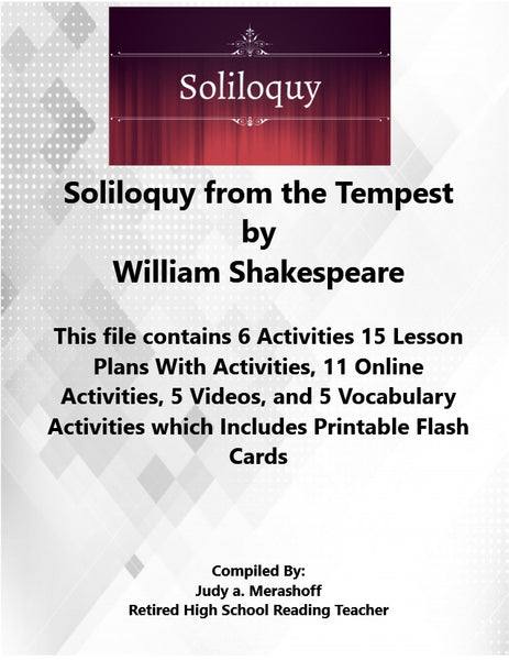 Sililoquy from the Tempest William Shakespeare 7th Grade Florida Collections 3 Supplemental Activities JAMsCraftCloset