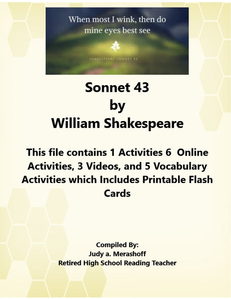 Sonnet 43 by William Shakespeare from Florida Collections 7th Grade Collection 2 JAMsCraftCloset