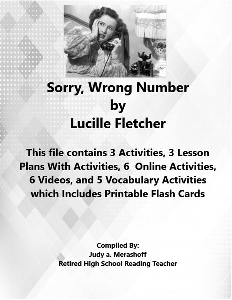 Sorry Wrong Number by Lucille Fletcher from Florida Collections 7th Grade JAMsCraftcloset