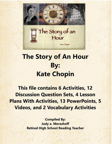 The Story of An Hour By Kate Chopin Teacher Supplemental Resources Fun Engaging JAMsCraftCloset