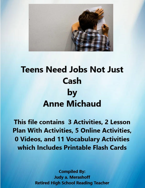 Florida Collection 8th Grade Collection 6 Teens Need Jobs, Not Just Cash Supplemental Activities JAMsCraftCloset