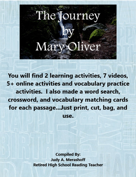 The Journey by Mary Oliver from HMH 9th Grade Textbook Collection 6 Supplemental Activities JAMsCraftCloset