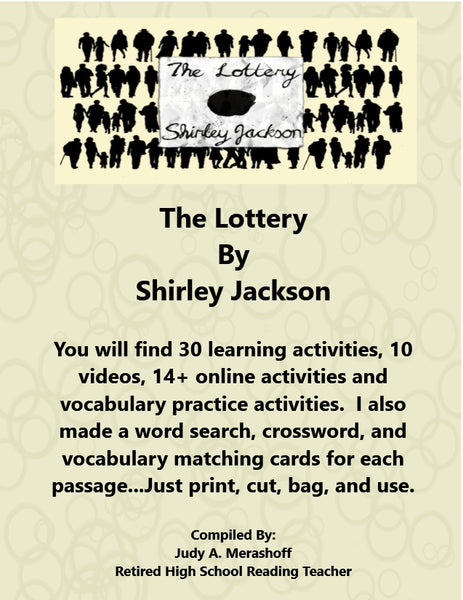 The Lottery by Shirley Jackson from HMH 10th Grade Textbook Collection 1 Supplemental Resources JAMsCraftCloset