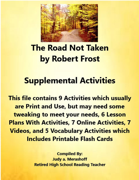 Florida Collections 6th Grade Collection 5 The ROAD NOT TAKEN Robert Frost Supplemental Activities JAMsCraftCloset