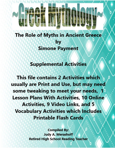 Florida Collections 6th Grade Collection 6 The Roles of Myths in Ancient Greece Supplemental Activities JAMsCraftCloset