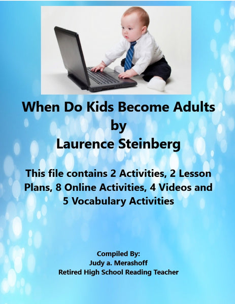 Florida Collection 8th Grade Collection 4 When Do Kids Become Adults by Laurence Steinberg Supplemental Activities JAMsCraftCloset