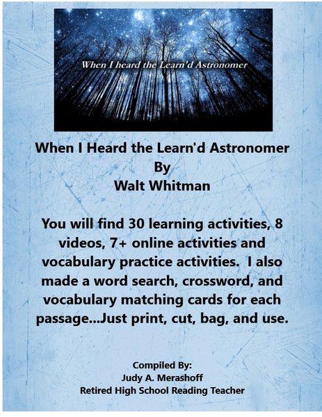 When I Heard the Learn'd Astronomer from HMH 10th Grade Textbook Collection 2 JAMsCraftCloset