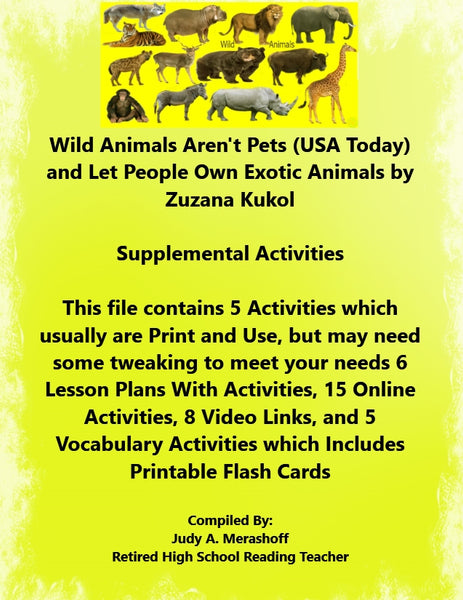 Florida Collections 6th Grade Collection 4 Wild Animals Aren't Pets Own Exotic Animals Supplemental Activities JAMsCraftCloset