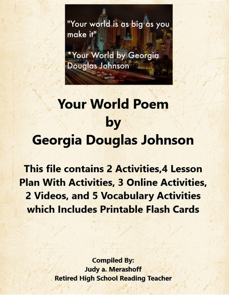 Your World Poem by Georgia Douglas Johnson 7th Grade Florida Collection 4 Supplemental Activities JAMsCraftCloset