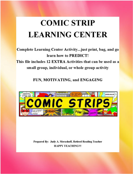 Predicting Comic Strip Learning Center Teacher Supplemental Resources JAMsCraftCloset