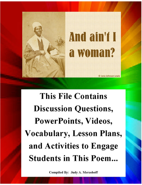 Ain't I A Woman by Sojourner Truth Teacher Supplemental Resources Fun Engaging JAMsCraftCloset