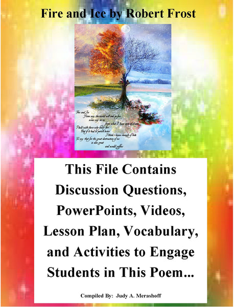 Fire and Ice by Robert Frost Teacher Supplemental Resources Fun Engaging JAMsCraftCloset