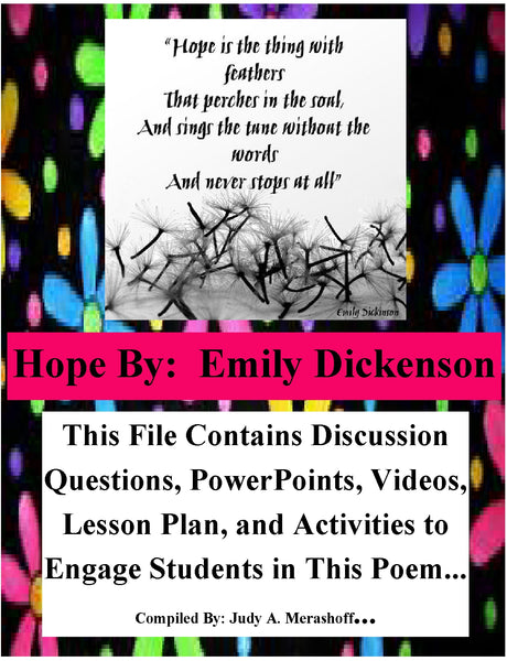 Hope is the Thing With Feathers by Emily Dickinson Teacher Supplemental Resource - JAMsCraftCloset
