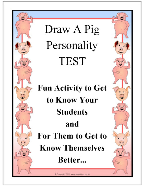 Draw A Pig Personality Test - Analyzing Activity Teacher Supplemental Resource JAMsCraftCloset