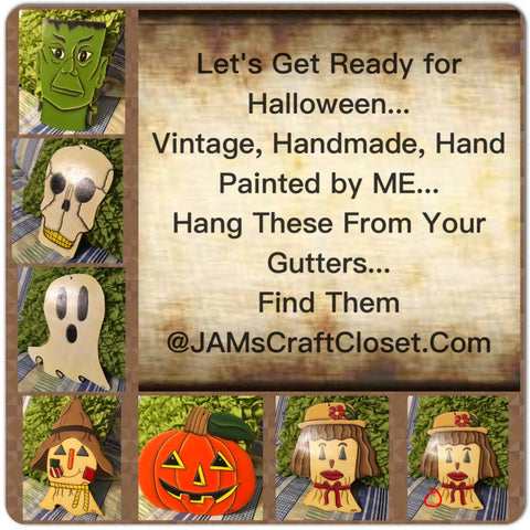 Halloween Faces Outdoor Vintage Decorations Ghosts Ghouls and Goblins SET OF 6
