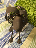 Metal Dog Art Handmade Wrought Iron With Flower Accents and Wagging Tail Vintage Home Decor