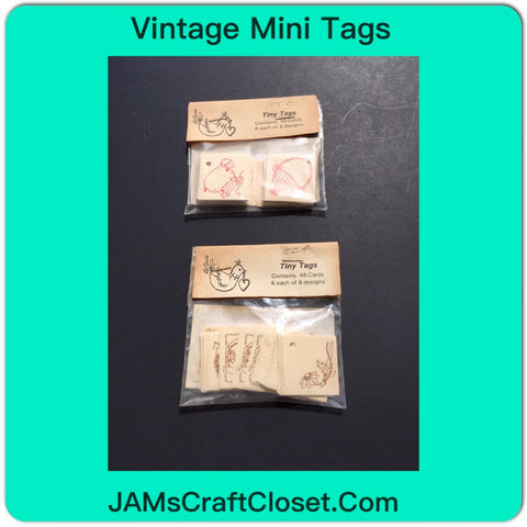 Vintage Mini Tags Pink Set and Brown Set 48 Tags in Each