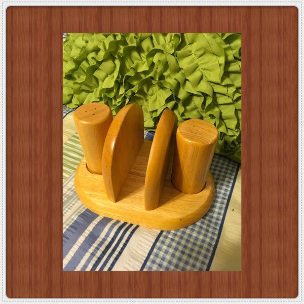 Napkin Holder and Salt and Pepper Shakers Unfinished Wooden Ready for DIY Upcycle