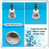 Bell Forget me Not Ceramic Made in Japan ENESCO CORP Collectible - JAMsCraftCloset
