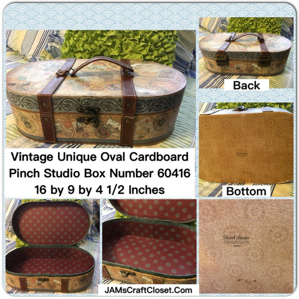 Box Vintage Oval Cardboard Pinch Studio With Latch and Imitation Leather Straps and Handle - JAMsCraftCloset
