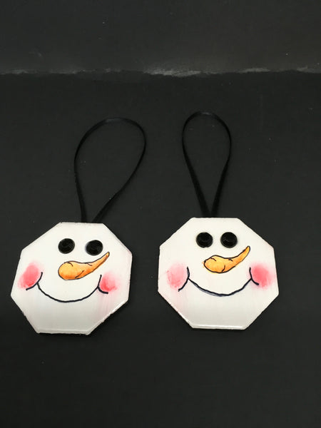 Ornaments Snowman Ceramic Tile 2 by 2  Inches Set of 2 Vintage Snowman Holiday Decor