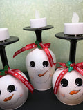 Candle Holder Stemware Up-Cycled Hand Painted Snowman Tealight Holiday Decor - JAMsCraftCloset