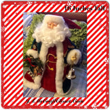 Santa Vintage Red White and Green  Standing 16 Inches Tall With Bell and Wreath