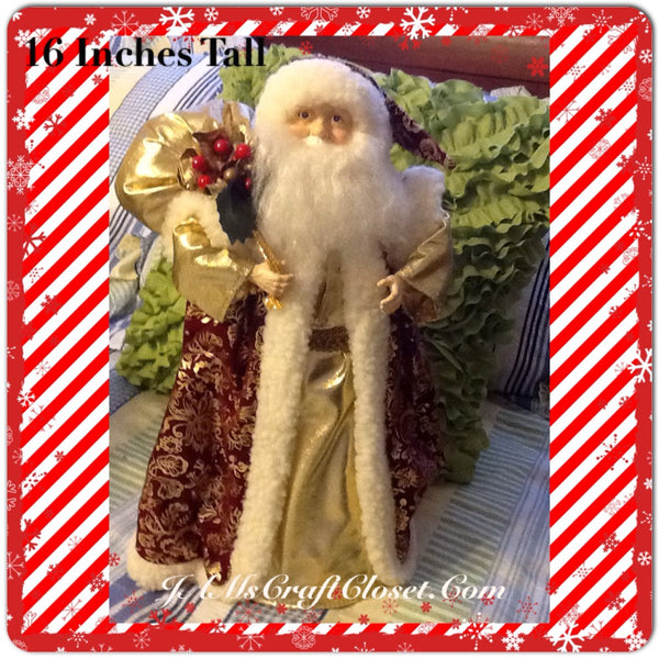 Santa Vintage Burgundy and Gold Standing 16 Inches Tall With Gold Bag and Holly Berries