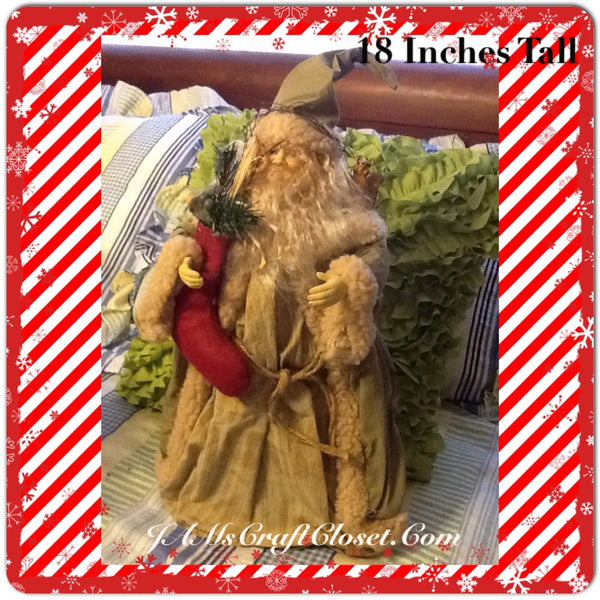 Santa Vintage Green Tan Red Standing 18 Inches Tall With Red Stocking Squirrel on Shoulder JAMsCraftCloset
