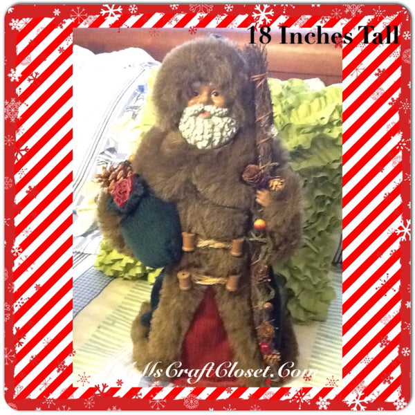 Vintage Burgundy and Green Ethnic Santa that Stands 18 Inches Tall With Staff and Green Bag JAMsCraftCloset