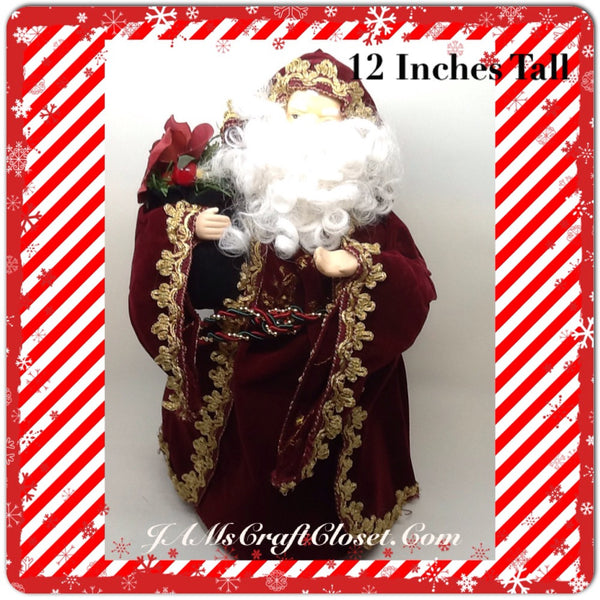 Vintage Burgundy and Gold Santa that Stands 12 Inches Tall With Green Bag JAMsCraftCloset