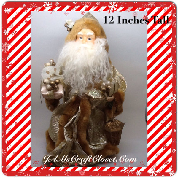 Santa Vintage Tan and Gold Standing 12 Inches Tall With Package and Lantern JAMsCraftCloset