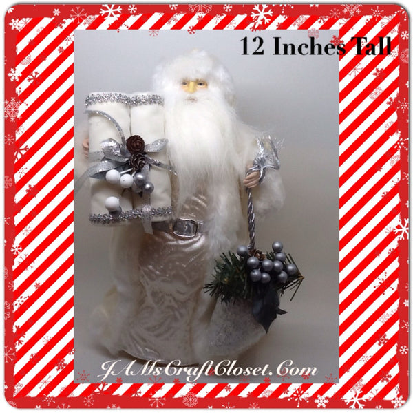 Santa Vintage White and Silver  Standing 12 Inches Tall With Bag and Scrolls JAMsCraftCloset