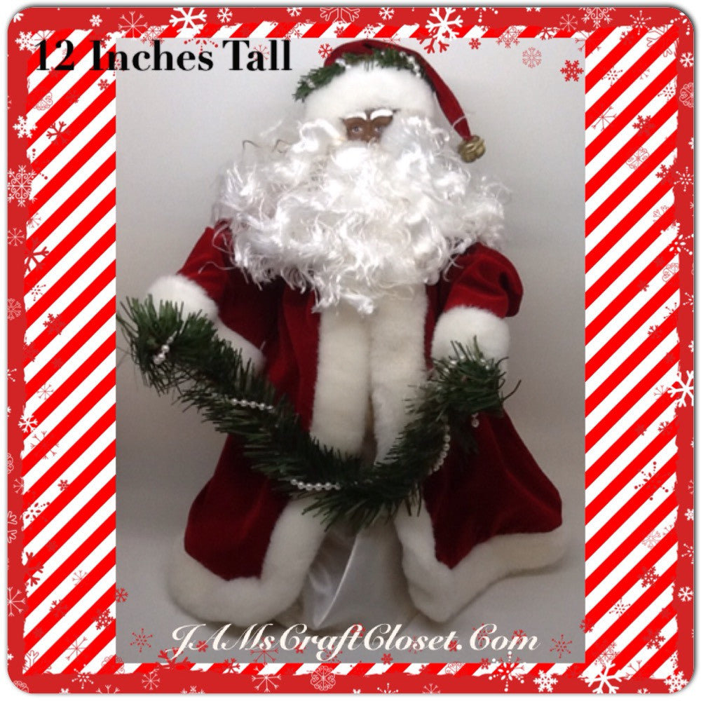 Santa Vintage Ethnic Red White and Green Standing 12 Inches Tall With Pearls  in the Garland