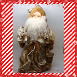 Santa Vintage Tan and Gold Standing 12 Inches Tall With Package and Lantern