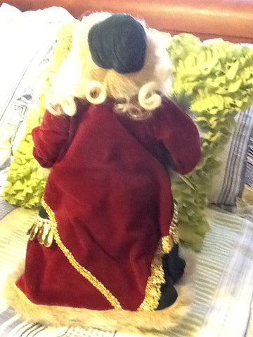8dd04a895fc ... Santa Vintage Burgundy and Green Standing 17 Inches Tall With Pinecone  and Snowflake Garland ...