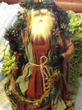 Santa Vintage Rust and Green Standing 17 Inches Tall With Pinecone and Berries Garland
