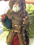 Santa Ethnic Vintage Burgundy and Green Standing 18 Inches Tall With Staff and Green Bag