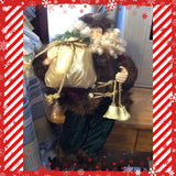 Santa Vintage Shelf Sitter Red Green and Gold With Bag and Bells 16 Inches Tall