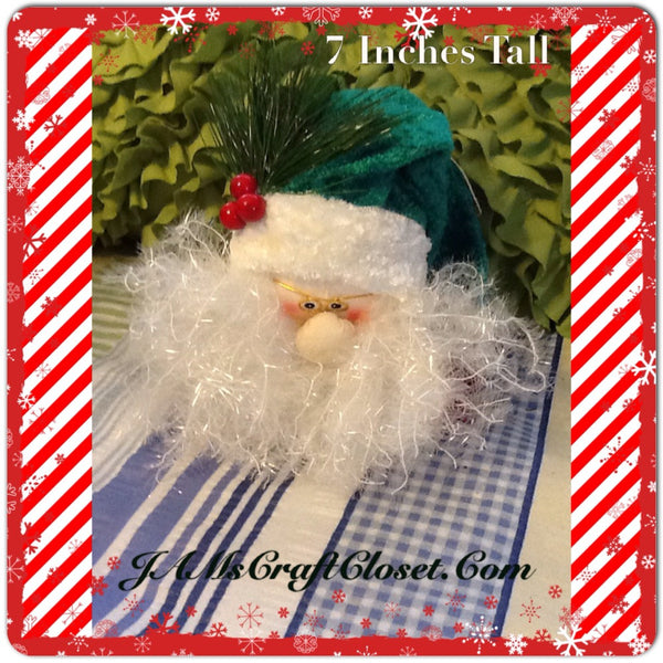 Santa Vintage Red White and Green Ornament 7 Inches Tall With Pine and Berries JAMsCraftCloset