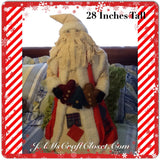 Santa Vintage Standing Primitive With Patches 28 Inches Gingerbread Cookies and Tree Garland