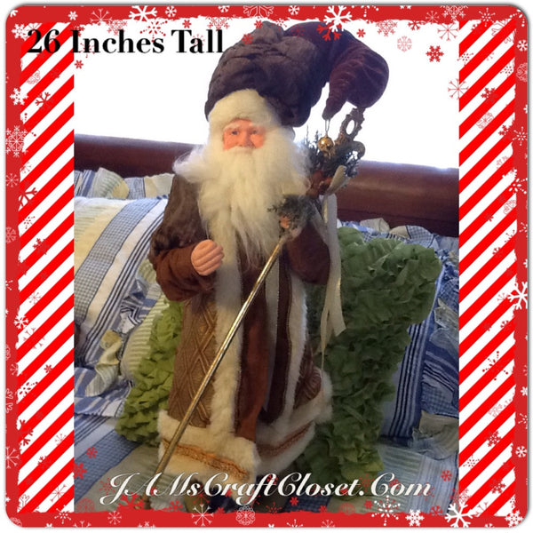 Santa Vintage Standing Brown and Gold 26 Inches Tall With Staff and Ceramic Boots JAMsCraftCloset