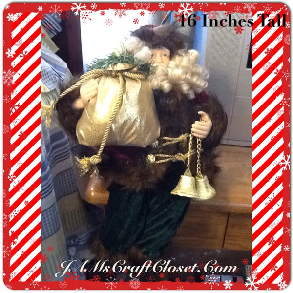 Santa Vintage Shelf Sitter Red Green and Gold With Bag and Bells 16 Inches Tall JAMsCraftCloset