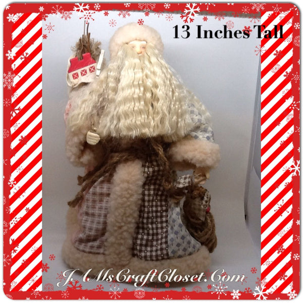 Santa Vintage Patchwork Standing  With Bag Home Fish 13 Inches Tall JAMsCraftCloset